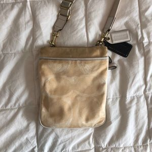 Tan coach cross body bag